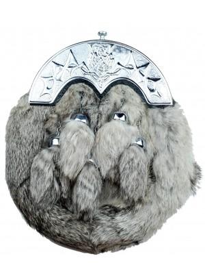 Scottish Grey Dress Rabbit Fur Sporran