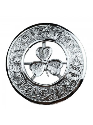 Kilt Plaid Brooch Irish Shamrock Crest Thistles