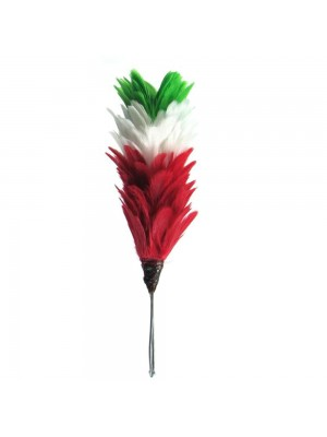 Feather Hackle Green White Red Perfect hat