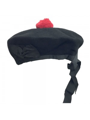 Beanie Glengarry Hat Plain Black with Red Pompom