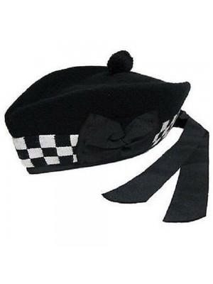 Black White Glengarry with Black Pompom Wool hat Wear