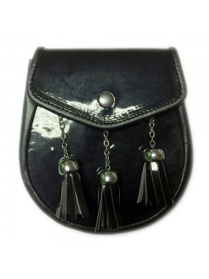 Black Leather Sporran With Leather 3 Tassels