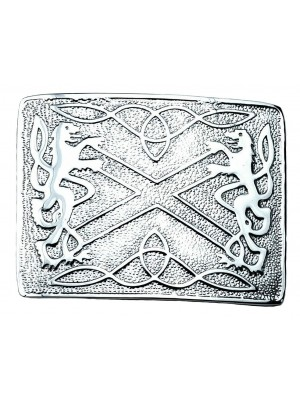 New Buckle Chrome Clan Crest Saltire Rampant Lions