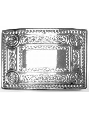 Scot Kilt Belt Buckle Chrome Finish Masonic Celtic Design