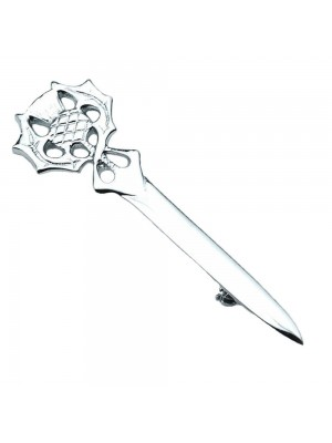 Thistle Head Kilt Pin Chrome Finish Wedding Stag Accessories