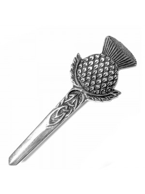 Round Emblem Thistle Scottish Kilt Pin Chrome Finish Wear