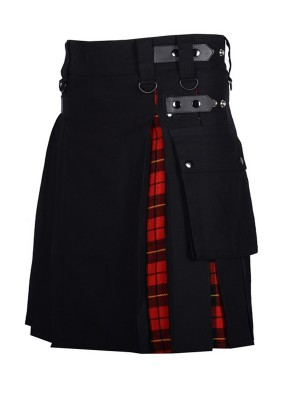 Black & Royal Stewart Tartan Hybrid Kilt