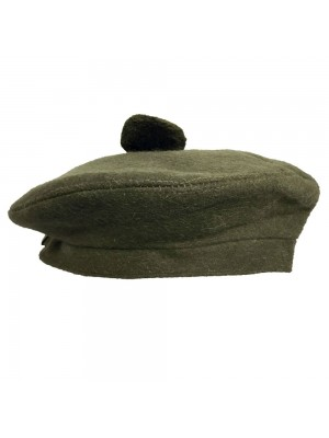 Beanie Glengarry Hat Plain Olive with Pompom