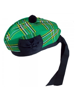 Irish Glengarry with Black Pompom Wool Scottish Kilt Hat