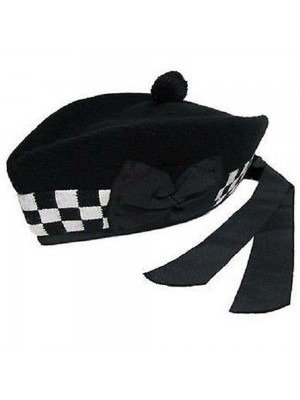 Black White Glengarry with Black Pompom Wool hat Wear