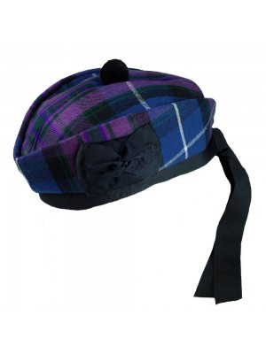 Pride of Scotland Glengarry with Black Pompom Wool Hat