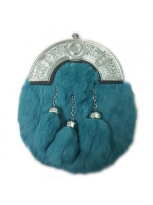 Teal Full Dress Rabbit Fur Sporran Cantle 3 Tassels For Sale