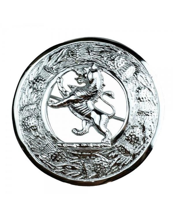 Kilt Plaid Brooch Rampant Lion Crest Thistles Border Kilt
