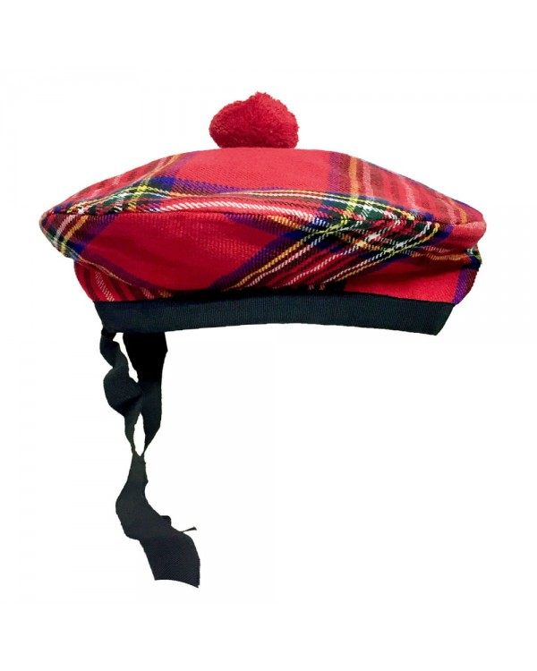 Beanie Glengarry Hat Royal Stewart with Red Pompom