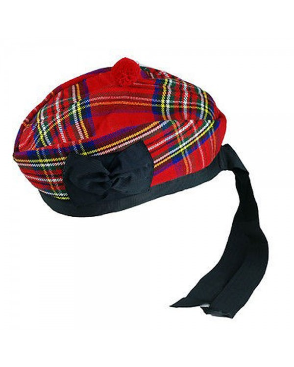 Royal Stewart Glengarry with Red Pompom Wool Scottish Kilt Hat Highland Wear