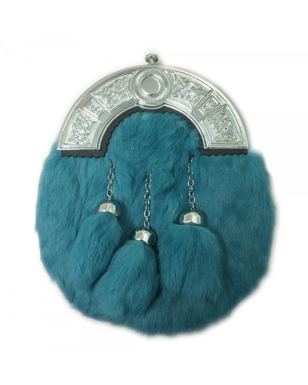 Teal Full Dress Rabbit Fur Sporran Cantle 3 Tassels For Sale