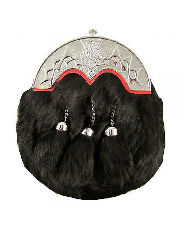 Black Dress Rabbit Fur Sporran Thistle Cantle Red 3 Tassels