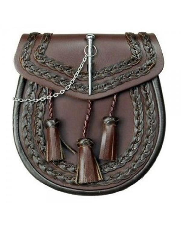 Brown Leather Kilt Sporran Pin Lock 3 Twisted Tassels Knots