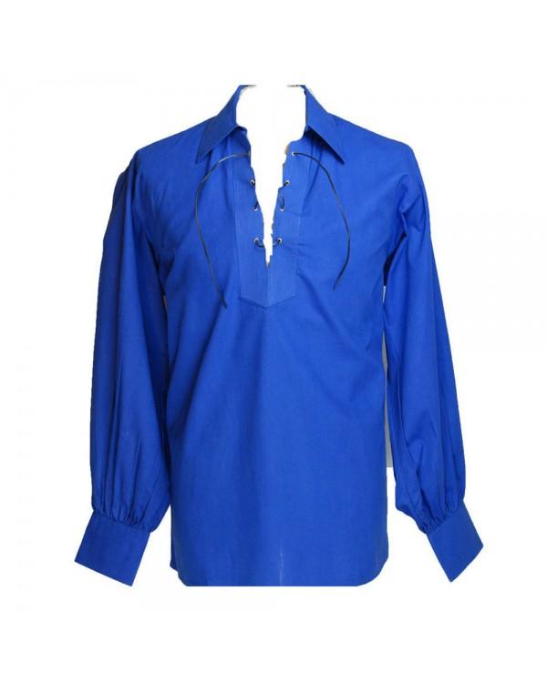 Blue Ghillie Shirt For Mens Wedding Kilt